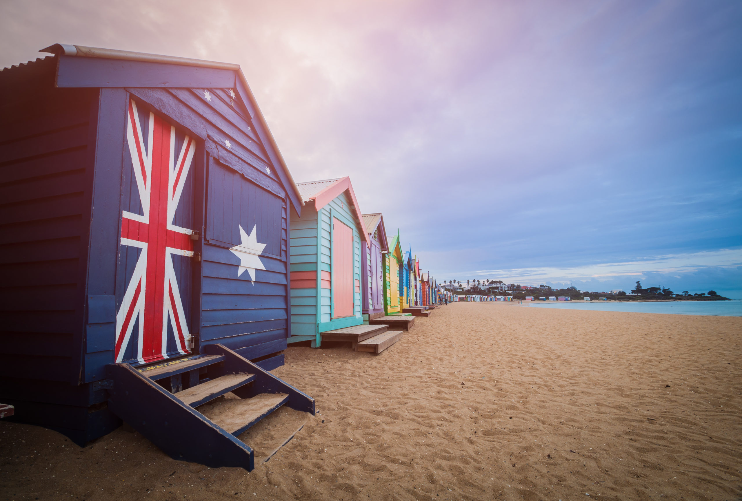 Brighton beach bathing boxes, Melbourne.